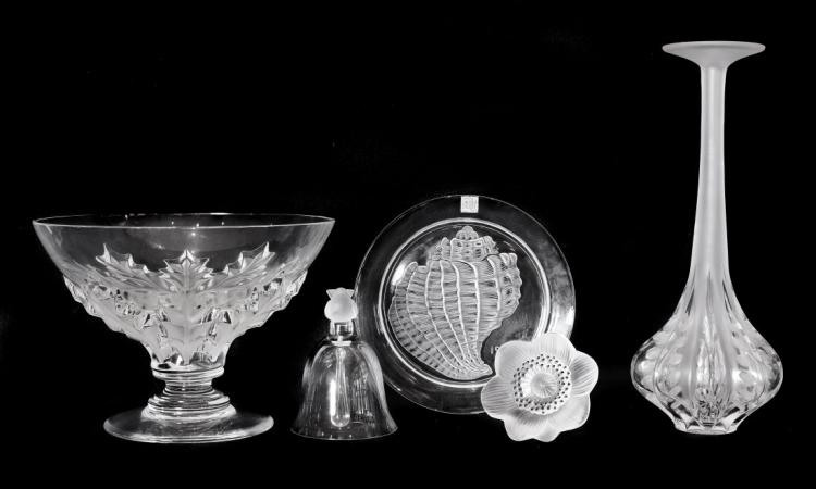LALIQUE FRANCE 20TH CENTURY FIVE ITEMS