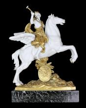 FINE DORE BRONZE AND BISQUE EQUESTRIAN GROUP