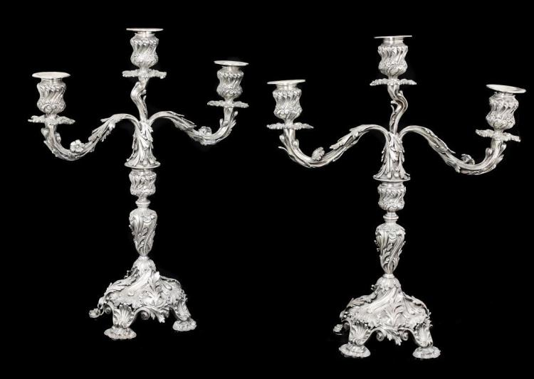 VERY FINE PAIR OF SILVER CANDELABRA EARLY 20TH CENTURY