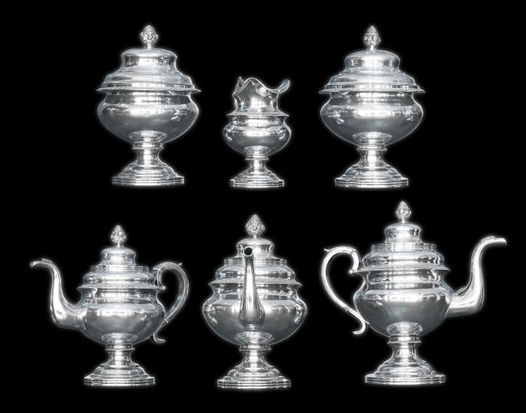 FINE SIX-PIECE STERLING SILVER TEA SERVICE CIRCA 1825