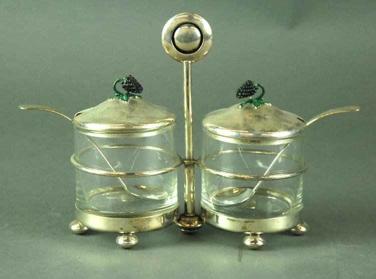 STERLING SILVER & ENAMEL GLASS MOUNTED CRUET SET