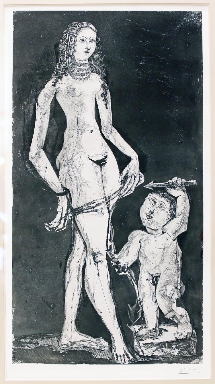 PABLO PICASSO, VENUS ET AMOUR, AFT. CRANACH, 1949,