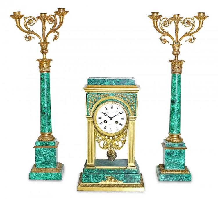 LOUIS XVI STYLE THRE-PIECE MALACHITE CLOCK GARNITURE