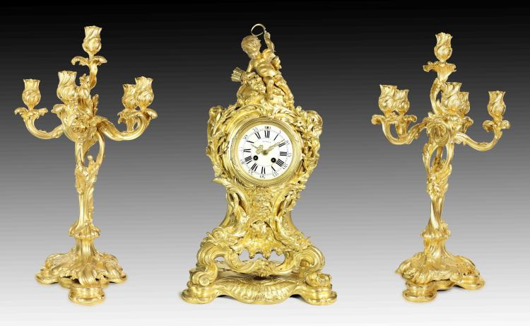 FINE TIFFANY & CO. THREE PIECE CLOCK GARNITURE