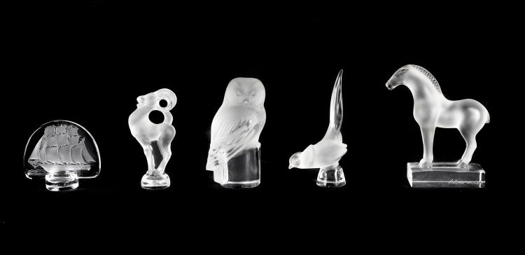 LALIQUE FRANCE 20TH CENTURY (5) FIVE ITEMS