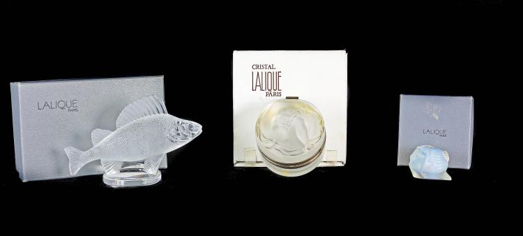 LALIQUE FRANCE 20TH CENTURY THREE ITEMS