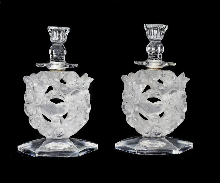 LALIQUE FRANCE 20TH CENTURY PAIR CANDLE HOLDERS