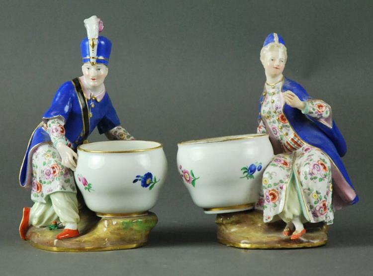 ASSEMBLED PAIR OF MEISSEN PORCELAIN FIGURAL SALTS