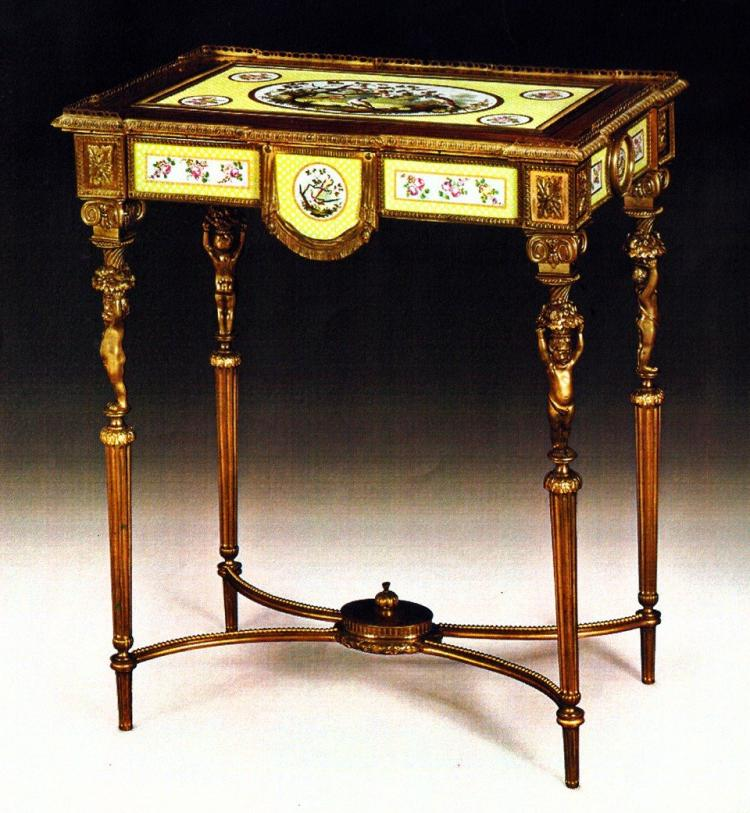 FINE MAHOGANY, SEVRES STYLE PORCELAIN OCCASIONAL TABLE