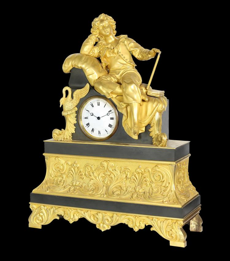 FINE CHARLES X GILT BRONZE FIGURAL MANTLE CLOCK