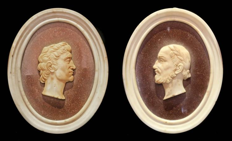 FINE PAIR OF MARBLE AND PORPHYRY PLAQUES, 19TH CENTURY