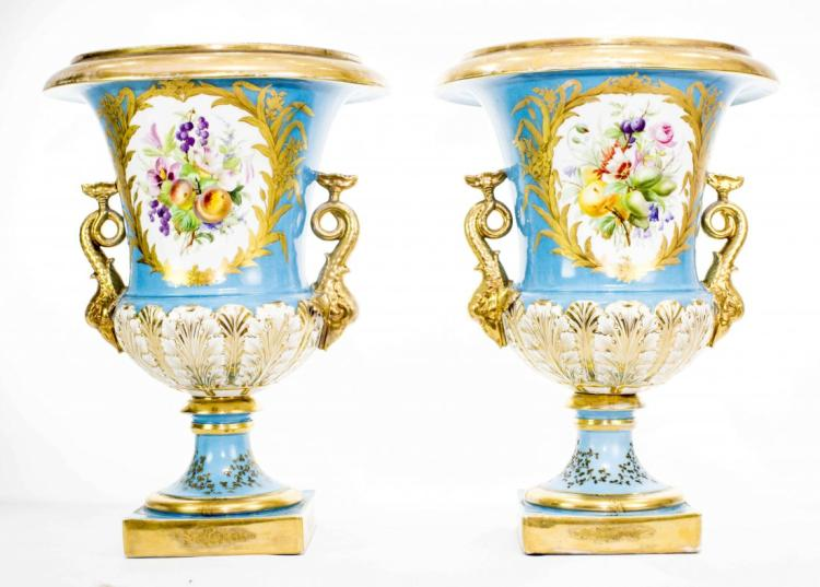 PAIR FRENCH TURQUOISE GROUND VASES