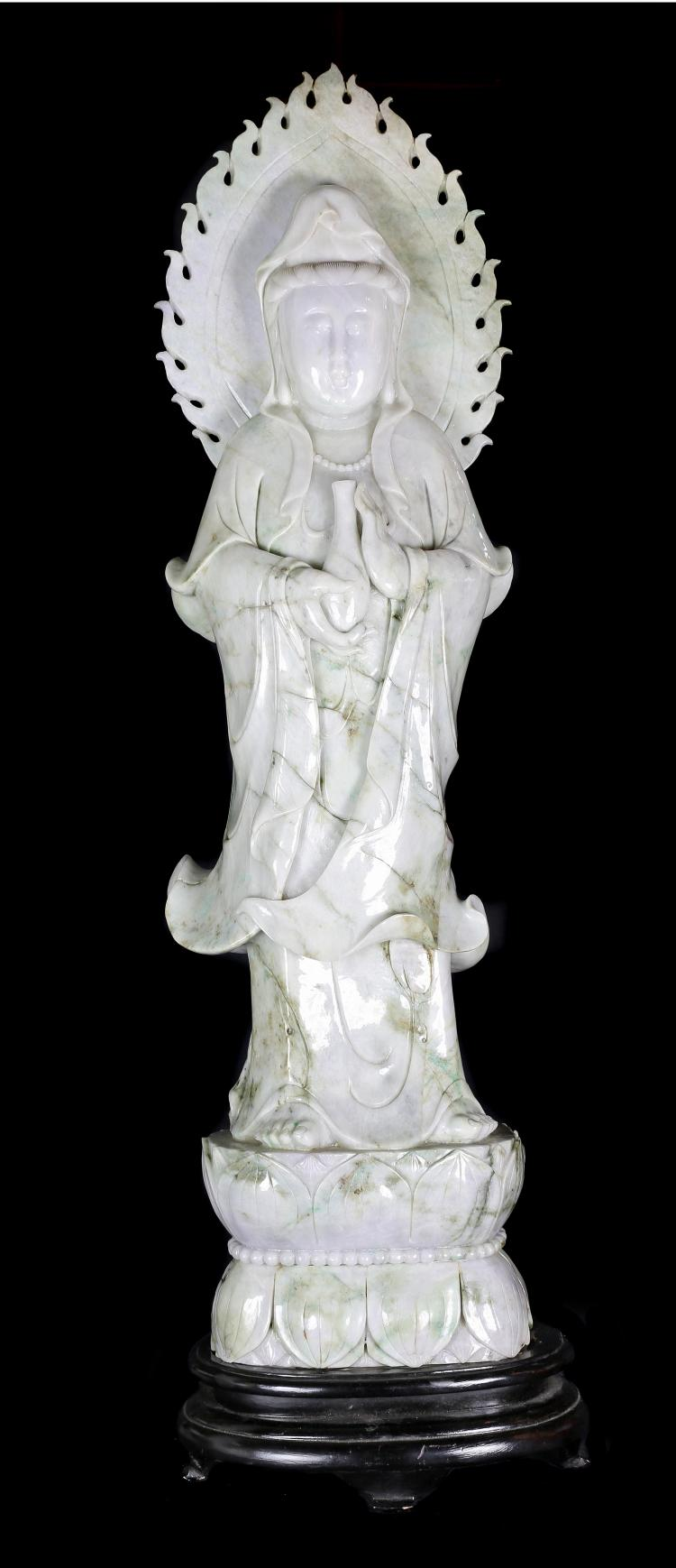 A VERY LARGE LIGHT LAVENDER  JADE FIGURE  OF QUANYIN