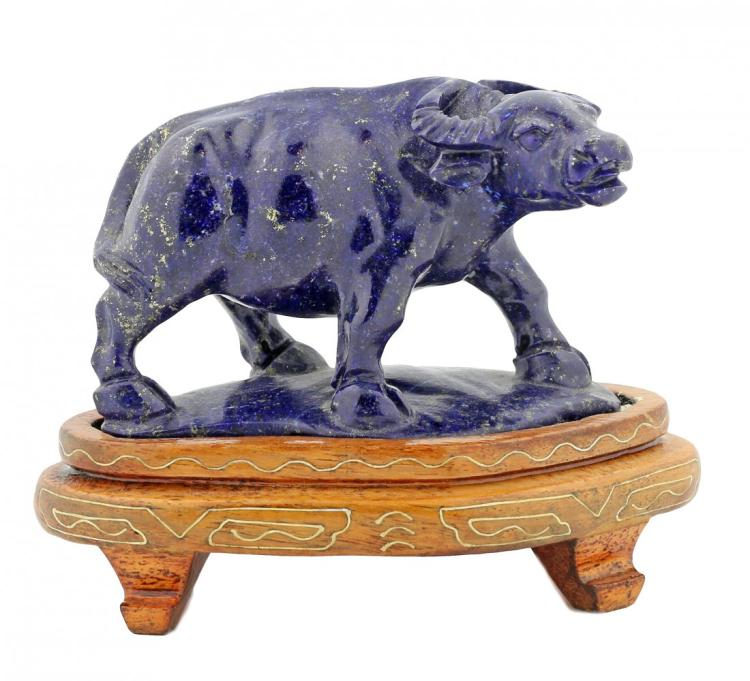 A FINE LAPIS FIGURE OF A WATER BUFFALO, CHINESE