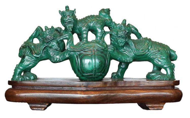 WHIMSICAL MALACHITE GROUP OF FOO LIONS , CHINESE