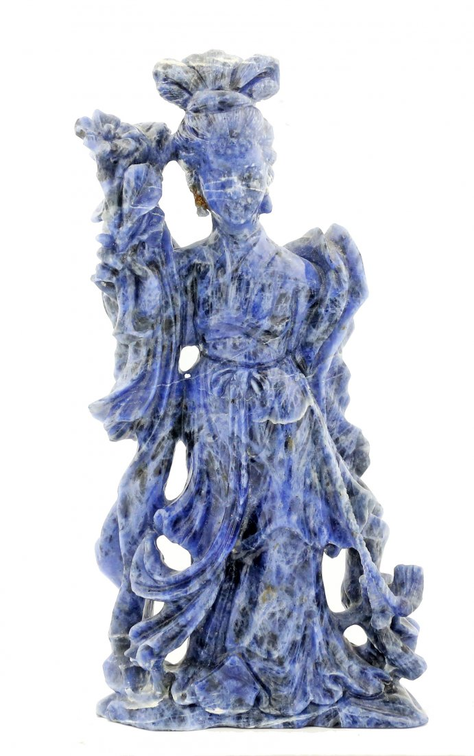 A FINE LAPIS FIGURE OF QUANYIN, CHINESE