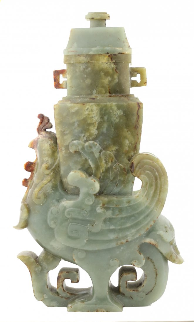 JADE ARCHAIC STYLE VASE AND COVER, CHINESE