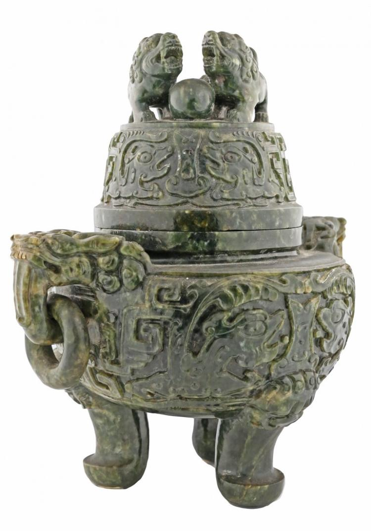 LARGE JADE INCENSE BURNER AND COVER, CHINESE