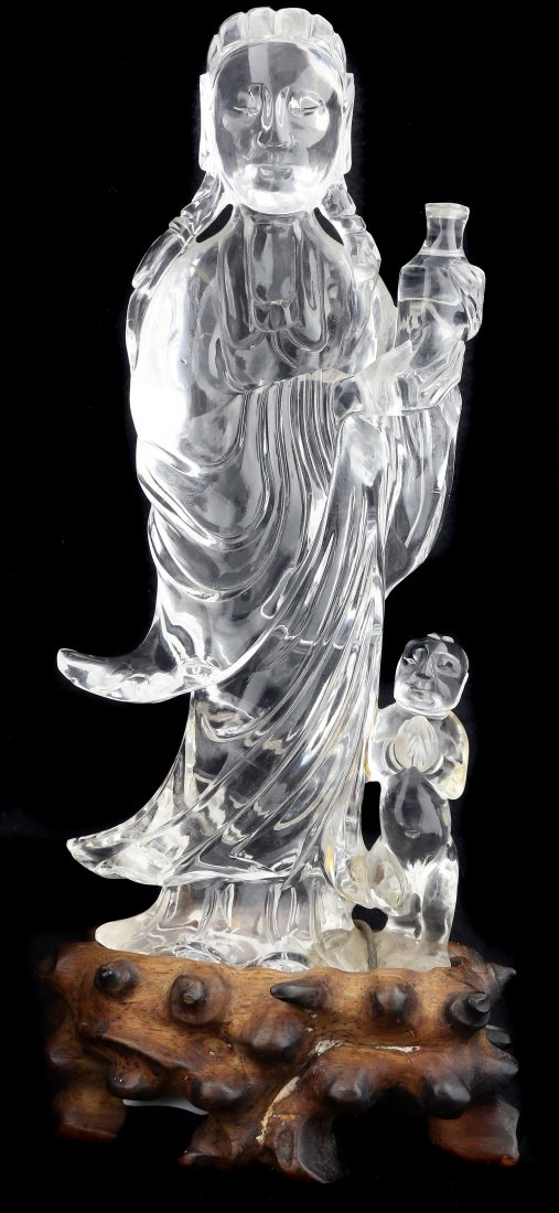 A ROCK CRYSTAL GODESS WITH CHILD OF BUDDHA, CHINESE