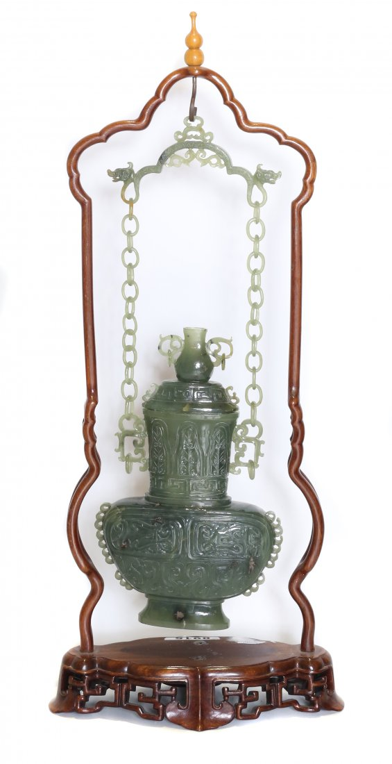 FINE JADE 'HANGING'VASE AND COVER ,CHINESE