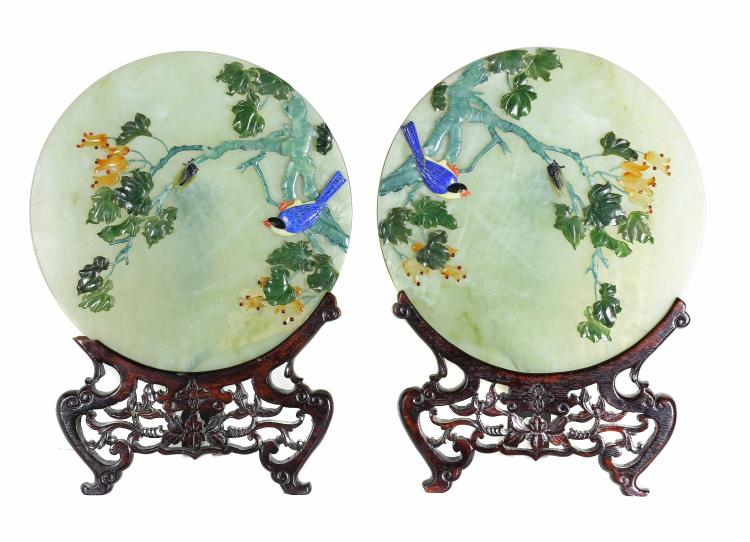 A PAIR OF SERPENTINE DISCS, CHINESE