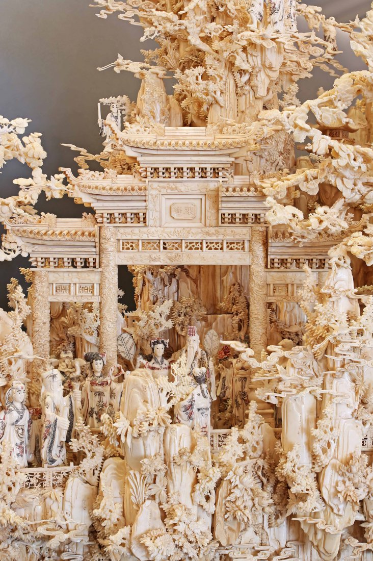 A MASSIVE CARVED BONE MOUNTAIN,