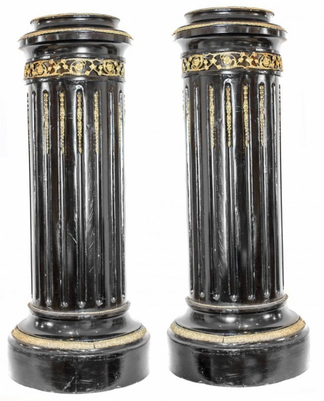 PAIR GILT-BRONZE MOUNTED EBONIZED PEDESTALS