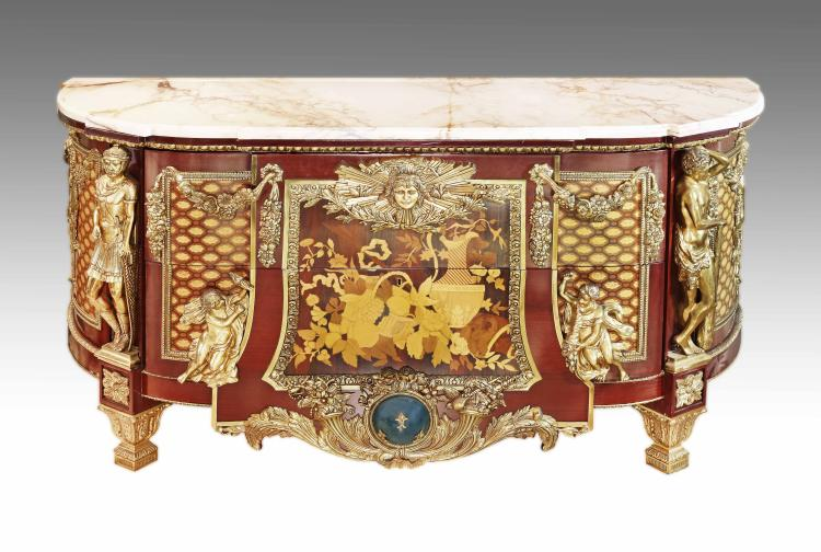 LARGE LOUIS XVI STYLE GILT BRONZE MOUNTED COMMODE