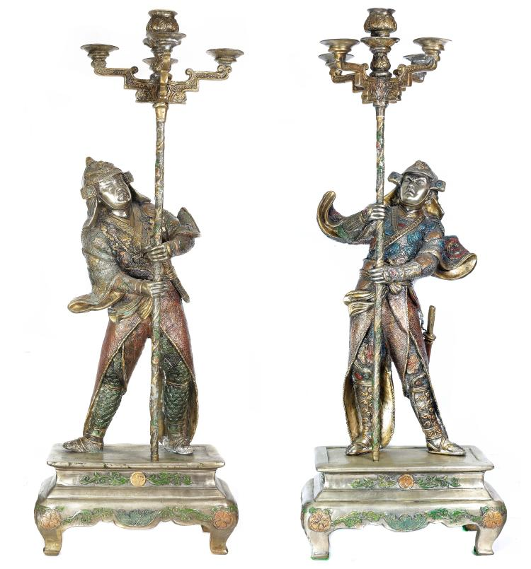 LARGE PAIR MONGOLIAN STYLE SILVERED BRONZE CANDELABRA