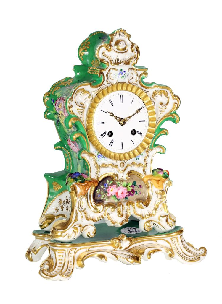 OLD PARIS PORCELAIN MANTLE CLOCK , 19TH CENTURY