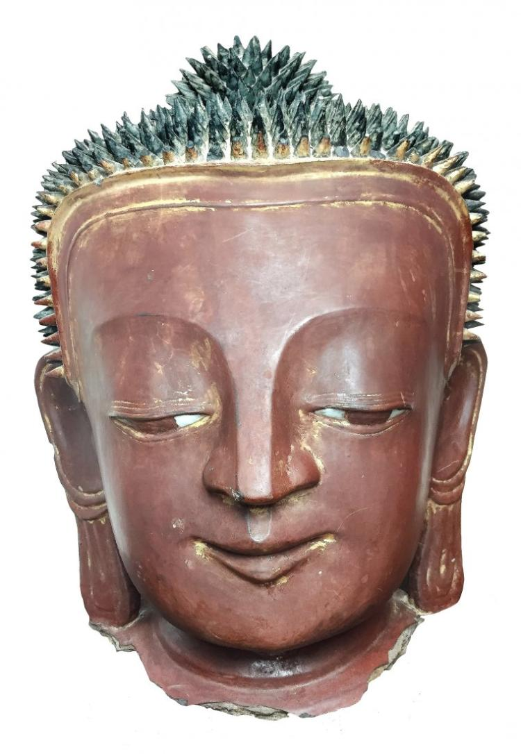 BURMESE LACQUERED HEAD OF BUDDHA