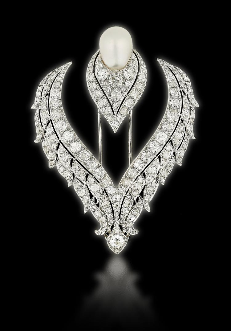 IMPORTANT PLATINUM PEARL AND DIAMOND BROOCH