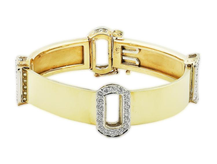 FINE 18 KARAT GOLD AND DIAMOND BRACELET