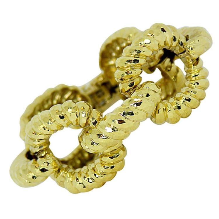 Large Gold Open Link Bracelet with Hammered Finish