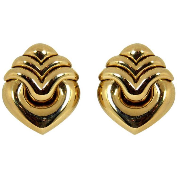 Bulgari Gold Heart Earrings