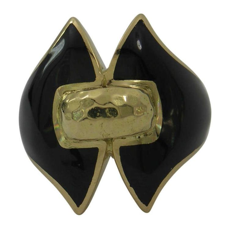 David Webb Gold and Black Enamel Ring