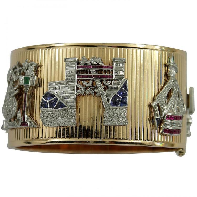 Bueche Girod Lady's White Gold Diamond Turquoise Dial
