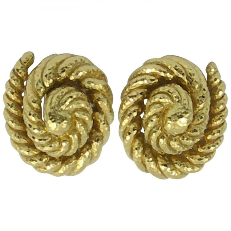 David Webb Hammered Gold Twisted Rope Design Earrings