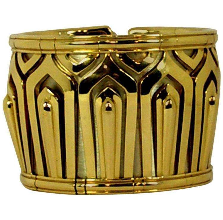 Wide Cartier Gold Cuff Bangle