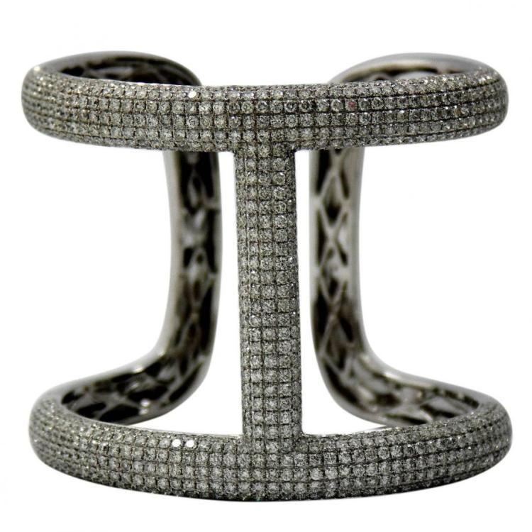 Stylish and Large Diamond Gold Encrusted Bangle Bracele
