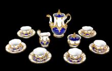 A MEISSAN GOLD WHITE AND BLUE TEA SERVICE