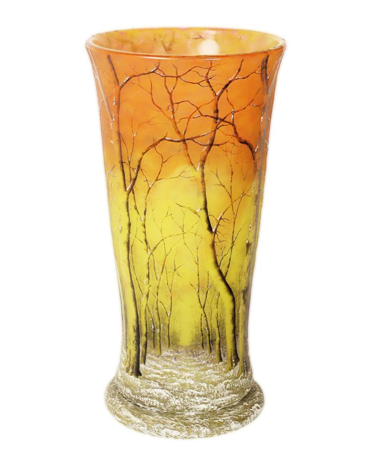 FINE DAUM WINTER SCENE CAMEO GLASS VASE