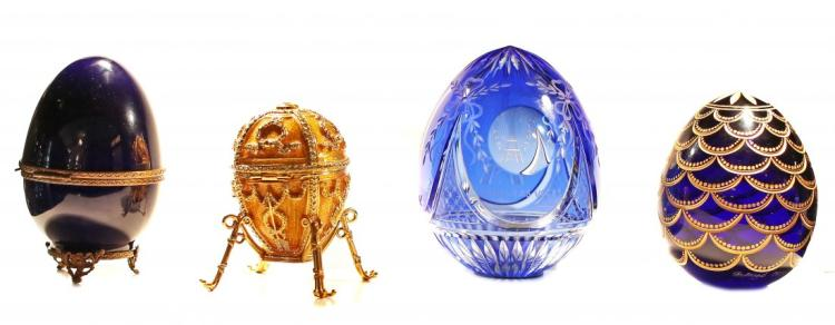 FOUR FABERGE EGGS 20TH CENTURY