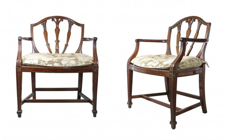 RARE CARVED LIGNUM VITAE OPEN ARMCHAIRS