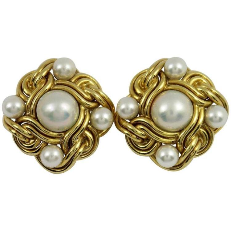 Woven Pearl Gold Button Earrings