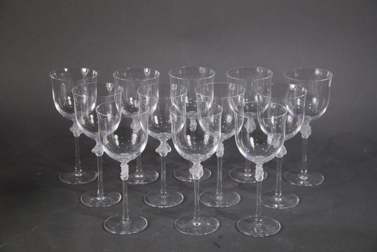 LALIQUE FRANCE 20TH CENTURY TWELVE GLASSES
