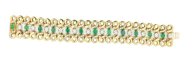 CHANTECLER DIAMOND AND EMERALD BRACELET