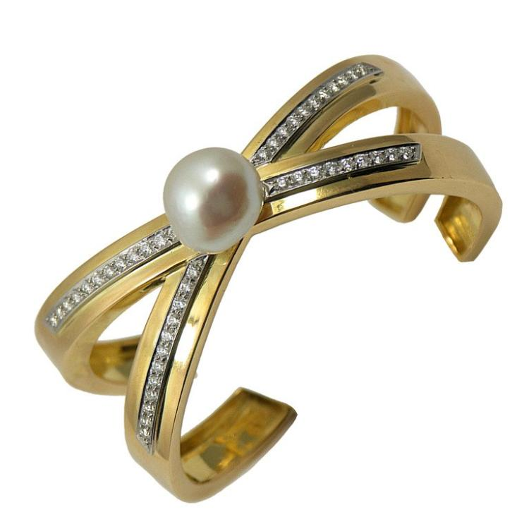Tiffany Paloma Picasso Diamond X Bangle With Pearl