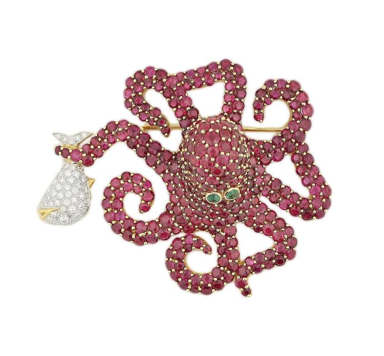 RUBY AND DIAMOND OCTOPUS BROOCH