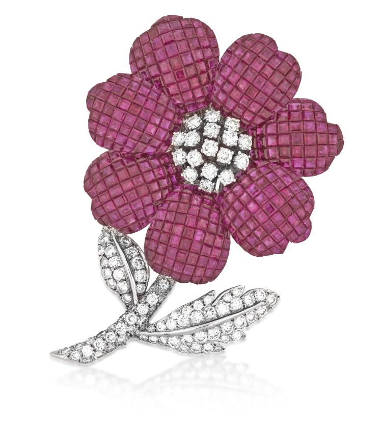 MODERN RUBY AND DIAMOND FLOWER BROOCH